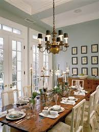 soft blue wall color for french provincial dining room interior