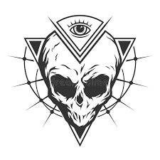the skull is an and all seeing eye stock vector