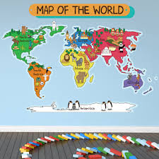 North America Wall Map by Animal World Map Wall Sticker World Map Wall Decal Kids Bedroom
