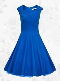 blue dress royal blue square neck vintage style knee length 50s 60s prom swing
