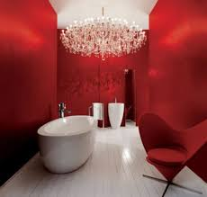 red black and white bathroom decor floating white vanity with