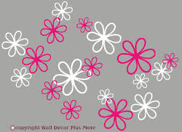 White Flower Wall Decor 2 Color Daisy Floral Wall Decal Package 16pc