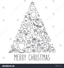 christmas vector hand drawn doodle card stock vector 726410161