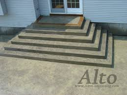 Stamped Patio Designs by Stamped Concrete Grand Staircase With Acid Stained Border
