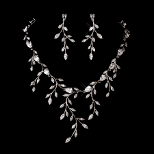 bridal necklace earring images Rhinestone vine wedding necklace and earring set gif