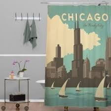 Skyline Shower Curtain Chicago Cubs Shower Curtain Foter