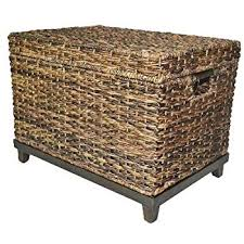storage trunk coffee table amazon com brown wicker storage trunk coffee table by threshold