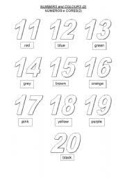 worksheet colour the numbers 10 to 20