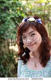 asian headband pretty asian woman flower headband stock photo 560863378