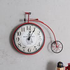 vintage creative bicycle clock wall mural personality decorative