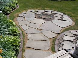 large flagstone firepit furniture decor trend beautiful