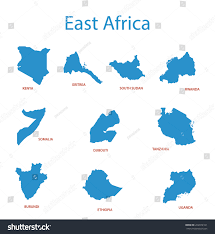 East Africa Map East Africa Vector Maps Territories Stock Vector 262074161