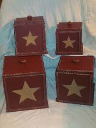 primitive wooden canister set with willow stencil www facebook com