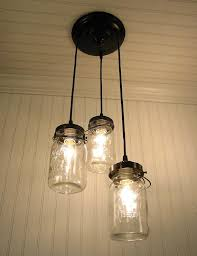 Canning Jar Lights Chandelier Mason Jar 3 Light Chandelier Trio Of Vintage Quart Jars The Lamp