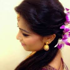 indian bridal reception hairstyle with flowers indian bridal