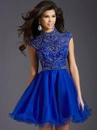 robe pour mariage robe de cocktail pour mariage col montant court mini perle bleu