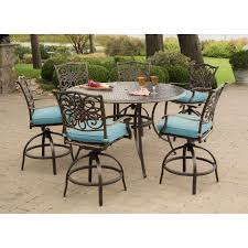 Hanover Patio Furniture Traditions 7 Piece High Dining Bar Set In Blue With 56 In Cast