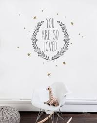 you are so loved quote lettering wall decal black gold baby nursery quote lettering wall decal