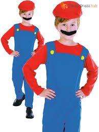 mario costume for toddlers childs plumber costume girls boys mario video game fancy dress