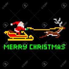 8 bit pixel santa reindeer clipart free 8 bit pixel santa