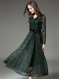 solid color sleeve lace maxi dress tidebuy