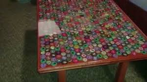 beer cap table top how to make a bottle cap table youtube