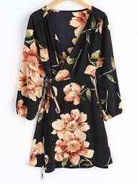 sleeve wrap dress floral print sleeve wrap dress black sleeve dresses m