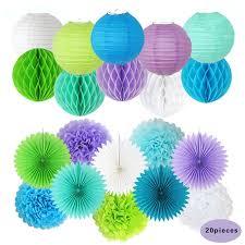 paper decorations lavender blue white green paper pom poms