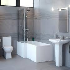 modena left hand square shower bath suite
