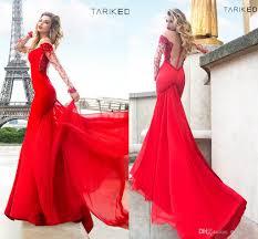 cheap tarik ediz red prom dresses 2014 long sleeve beaded sheer
