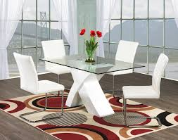 White Dining Room Sets Chair Glass Dining Table And White Leather Chairs Ciov