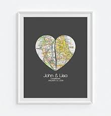 customized anniversary gifts custom wedding split 2 heart maps print