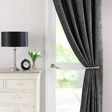 Curtains For Doors Chenille Grey Thermal Pencil Pleat Door Curtain Dunelm