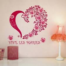Home Decoration Wall Stickers Vinyl Room Wall Sticker Roes Red Flowers Heart Removable Diy Art