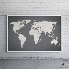 Black And White World Map Gray World Map Poster Large World Map Print Modern Home