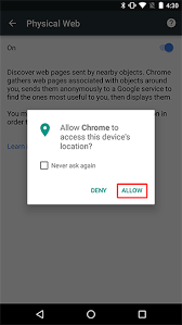 android chrome location the physical web