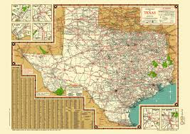 Big Bend Map Texas Road Map 1940s Map Poster Vintage Dime Box Dallas Fort