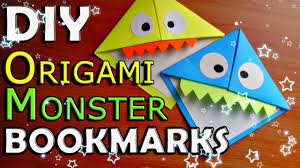 diy origami monster bookmark how to make paper corner bookmarks