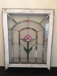 Antique Stained Glass Door by Details About Antique Leaded Stained Glass Window With Pink Flower