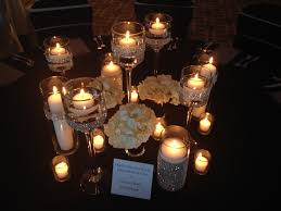 Vases With Floating Candles Elegant Candle Centerpiece Lots Of Candles Rhinestone Wrapped