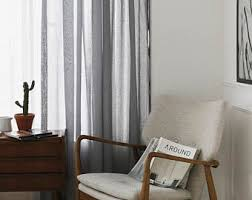 Grey Sheer Curtains Blue Gray Linen Look Sheer Curtains Voile Drapery Curtains