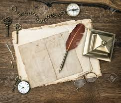 Antique Writing Paper Antique Office Supplies And Writing Tools On Wooden Desk Vintage