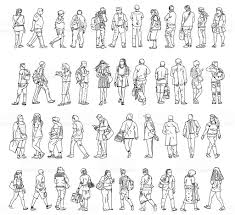 sketches of people in various positions of walking stock vector