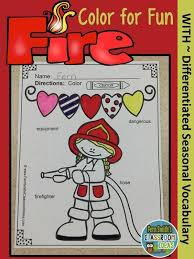 coloring pages fire safety differentiated vocabulary