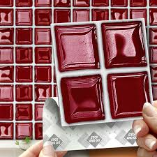 18 red glass mosaic effect wall tiles 2mm thick and solid self