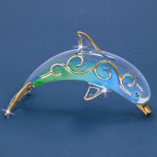 paradise dolphin glass figurine w swarovski elements and 22k gold