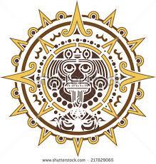 aztec sun logo ethnic symbol stock vector 217829065