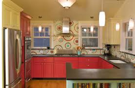 red white black kitchen backsplash tile and free curtains elegant