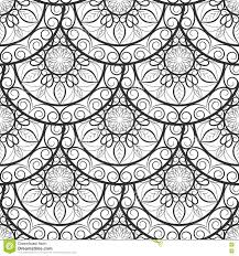 seamless floral pattern black and white coloring book page