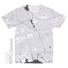 Queens Map Citee Fashion Nyc Queens Map T Shirt